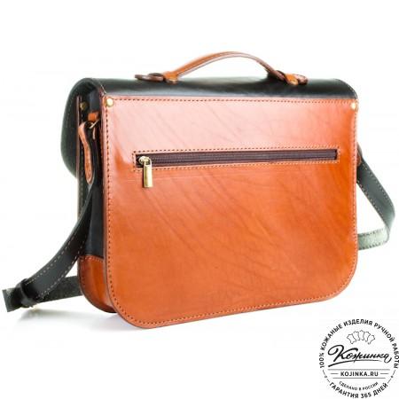 """Кожаный портфель """"Сатчел""""  (чёрно-коричневый) - 4"""