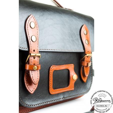 """Кожаный портфель """"Сатчел""""  (чёрно-коричневый) - 3"""