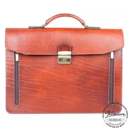 """Кожаный портфель-папка ручной работы """"Оберон"""" (тёмно-рыжий) - 4"""