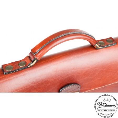 """Кожаный портфель-папка ручной работы """"Оберон"""" (тёмно-рыжий) - 7"""