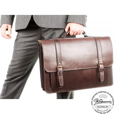 """Кожаный портфель ручной работы """"Пегас"""" (тёмно коричневый) - 12"""