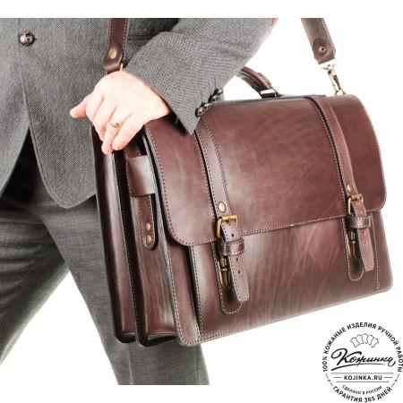 """Кожаный портфель ручной работы """"Пегас"""" (тёмно коричневый) - 10"""