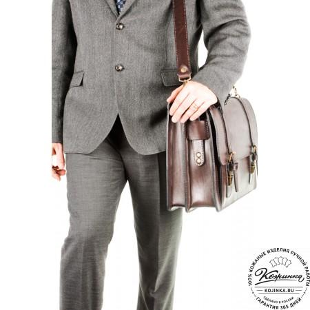 """Кожаный портфель ручной работы """"Пегас"""" (тёмно коричневый) - 9"""