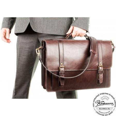 """Кожаный портфель ручной работы """"Пегас"""" (тёмно коричневый) - 8"""