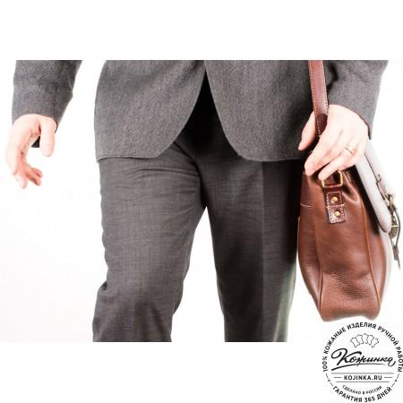 """Мужской кожаный портфель """"Оксфорд"""" (коричневый) - 10"""