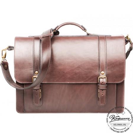 """Кожаный портфель ручной работы """"Пегас"""" (тёмно коричневый) - 5"""