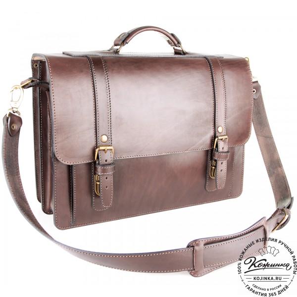 """Кожаный портфель ручной работы """"Пегас"""" (тёмно коричневый). фото 1"""