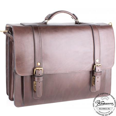 """Кожаный портфель ручной работы """"Пегас"""" (тёмно коричневый) - 6"""
