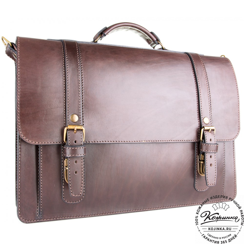 """Кожаный портфель ручной работы """"Пегас"""" (тёмно коричневый)"""