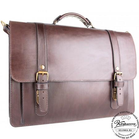 """Кожаный портфель ручной работы """"Пегас"""" (тёмно коричневый) - 7"""