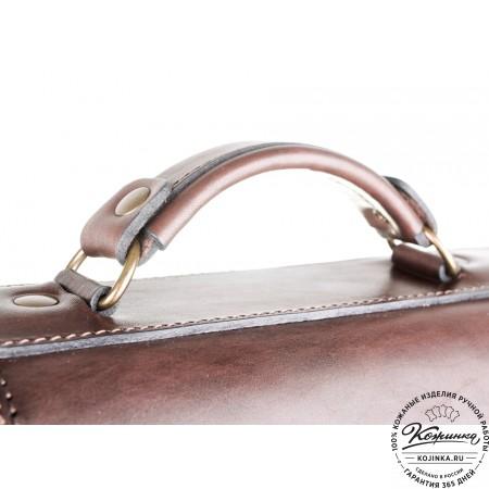 """Кожаный портфель ручной работы """"Пегас"""" (тёмно коричневый) - 4"""