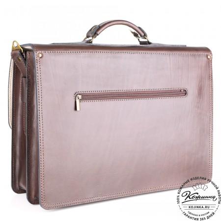 """Кожаный портфель ручной работы """"Пегас"""" (тёмно коричневый) - 3"""