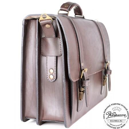 """Кожаный портфель ручной работы """"Пегас"""" (тёмно коричневый) - 11"""