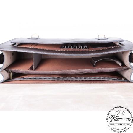 """Кожаный портфель ручной работы """"Пегас"""" (тёмно коричневый) - 14"""