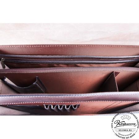 """Кожаный портфель ручной работы """"Пегас"""" (тёмно коричневый) - 15"""