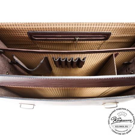 """Кожаный портфель ручной работы """"Пегас"""" (тёмно коричневый) - 2"""