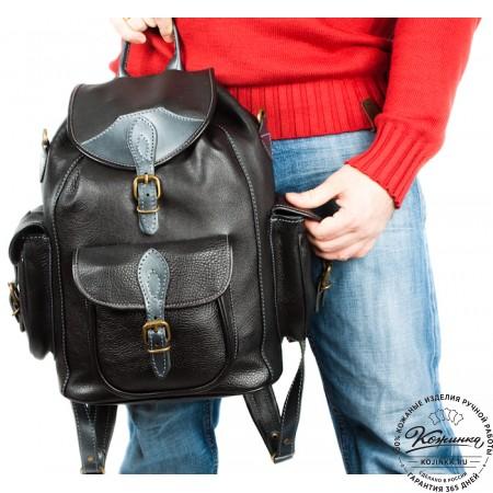 """Кожаный рюкзак """"Мидл"""" (чёрный)"""