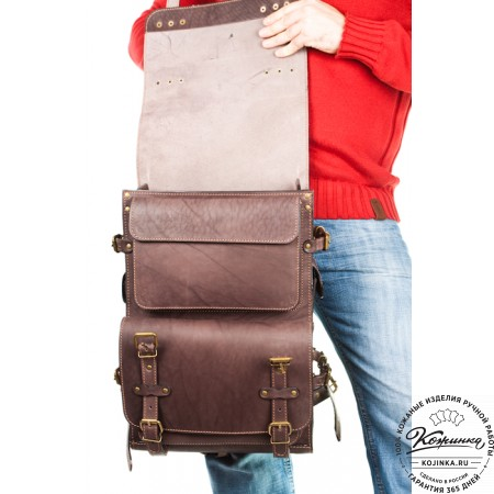 """Мужской кожаный рюкзак """"Легион"""" (коричневый) - 9"""