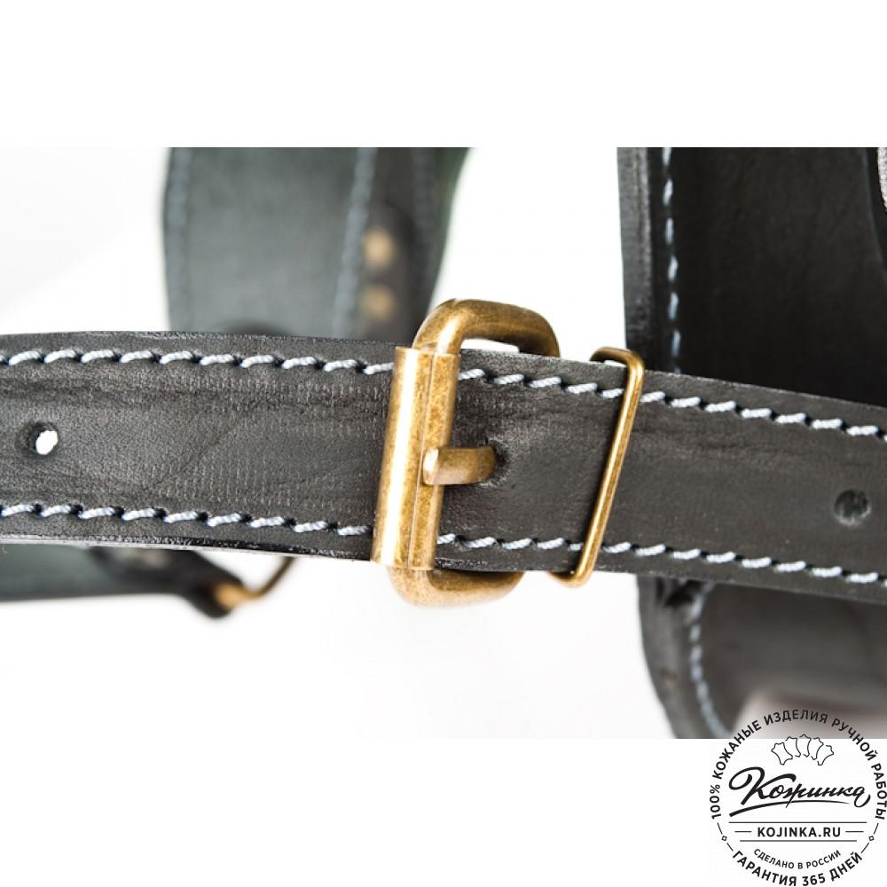 """Мужской кожаный рюкзак """"Байкер"""" (чёрный)"""