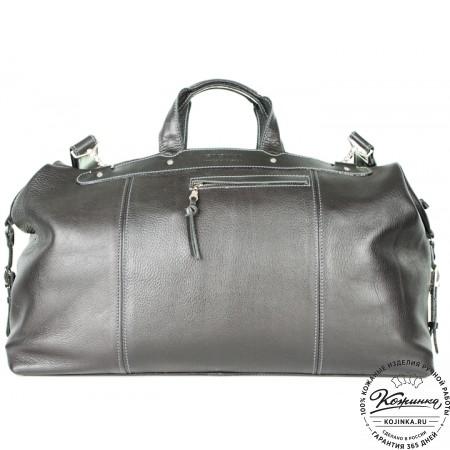 Кожаная дорожная сумка (чёрная) - 12