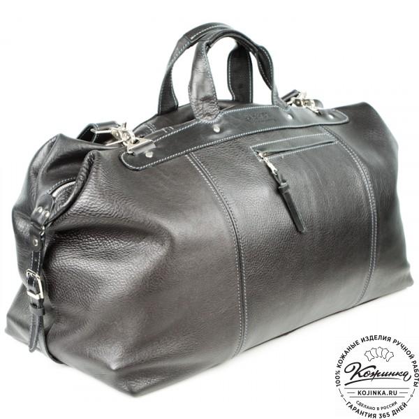 Кожаная дорожная сумка (чёрная). фото 1