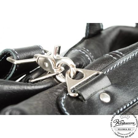 Кожаная дорожная сумка (чёрная) - 13