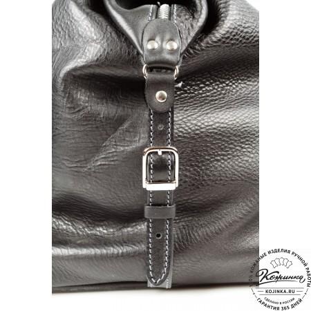 Кожаная дорожная сумка (чёрная) - 11