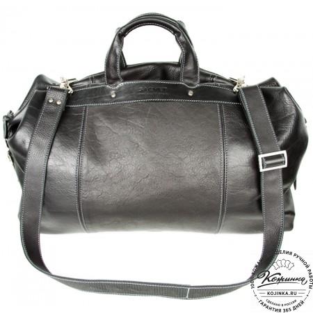 Кожаная дорожная сумка (чёрная) - 10