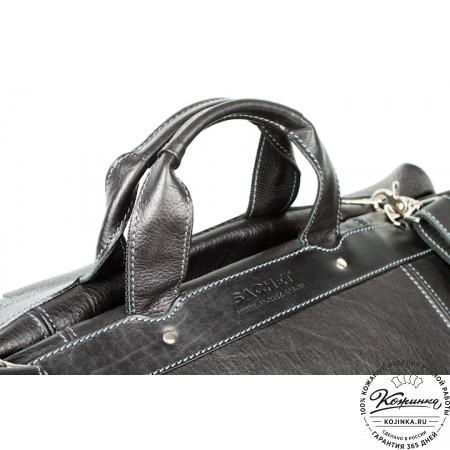 Кожаная дорожная сумка (чёрная) - 9