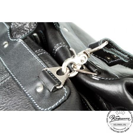 Кожаная дорожная сумка (чёрная) - 7