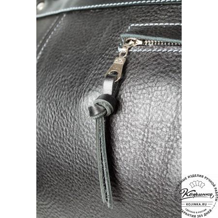 Кожаная дорожная сумка (чёрная) - 6