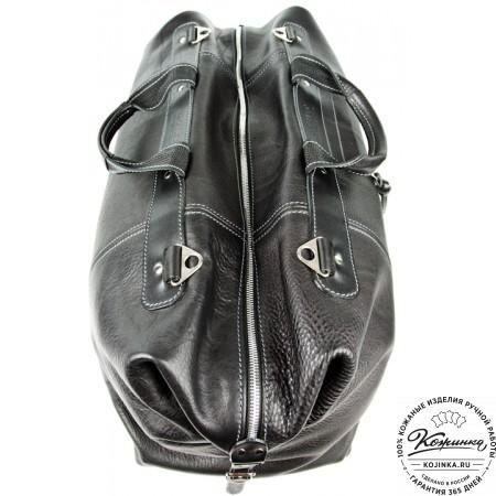Кожаная дорожная сумка (чёрная) - 4