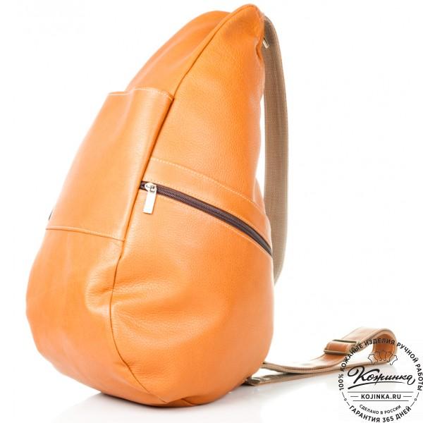 """Кожаный рюкзак """"Капля"""" (рыжий). фото 1"""