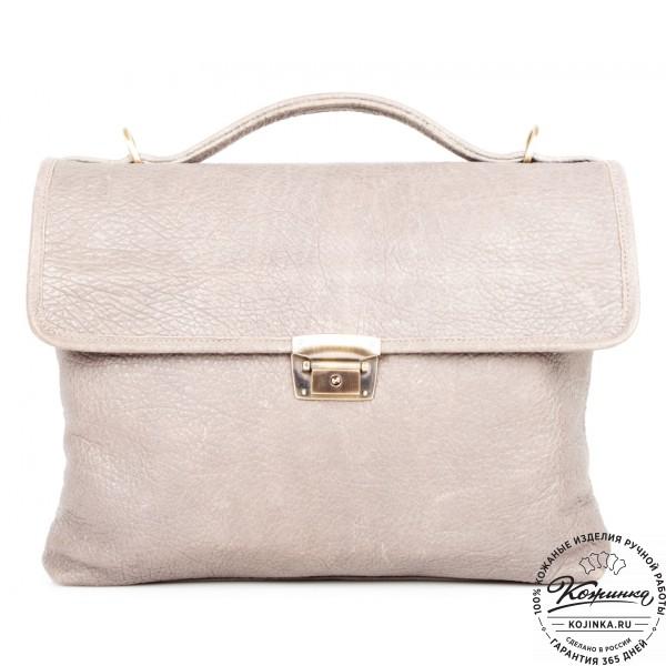 """Кожаный портфель """"Комфорт"""" (светло-серый). фото 1"""