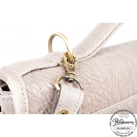 """Кожаный портфель """"Комфорт"""" (светло-серый)"""