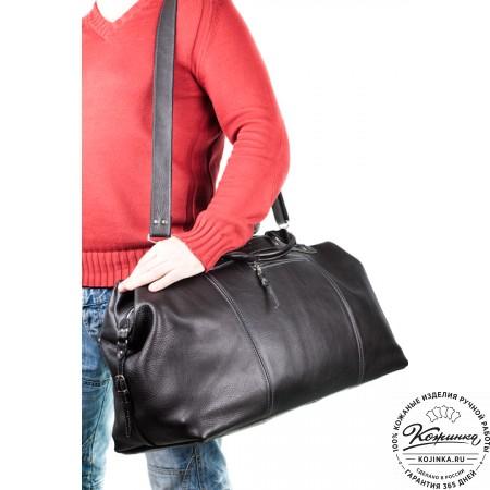 Кожаная дорожная сумка (чёрная) - 3