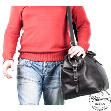 Кожаная дорожная сумка (чёрная) - 2