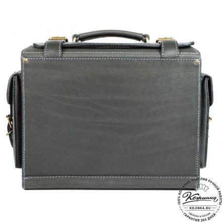 """Кожаный портфель """"Бойскаут"""" (чёрный) - 12"""