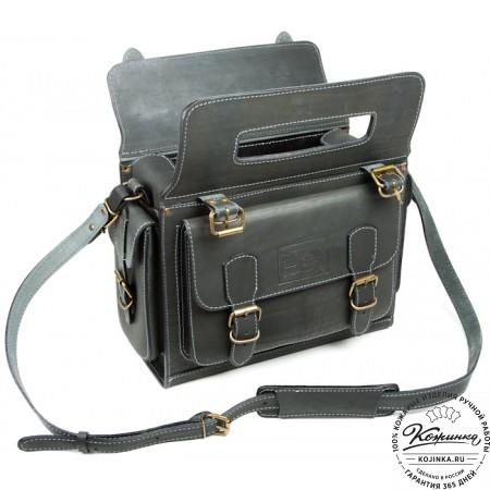 """Кожаный портфель """"Бойскаут"""" (чёрный) - 6"""
