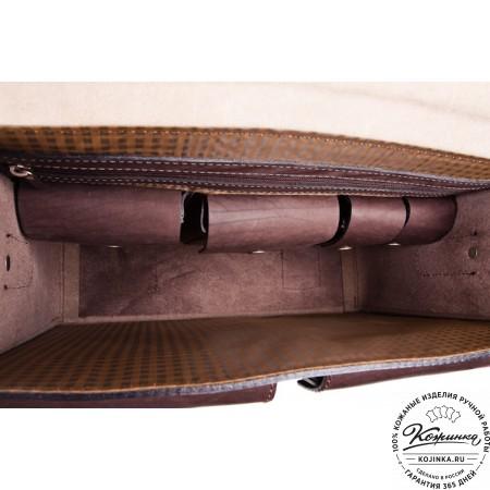 """Кожаный портфель ручной работы  """"Марс""""  (коричневый)"""