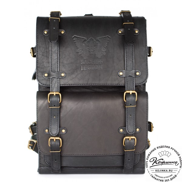 """Мужской кожаный рюкзак """"Легион"""" (чёрный). фото 1"""