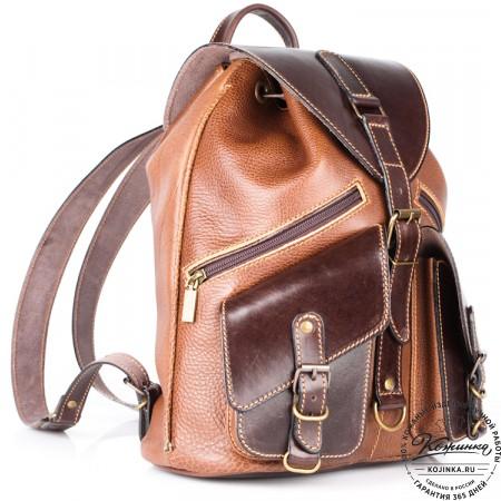 """Кожаный рюкзак """"Пилот"""" (коричневый) - 8"""