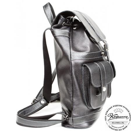 """Кожаный рюкзак """"Классика"""" (чёрный) - 8"""