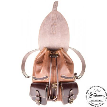 """Кожаный рюкзак """"Пилот"""" (коричневый) - 5"""