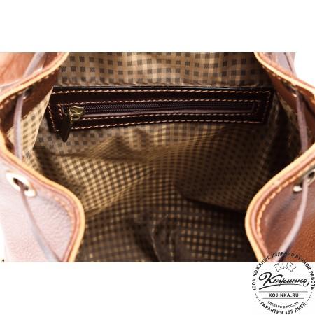 """Кожаный рюкзак """"Пилот"""" (коричневый) - 3"""