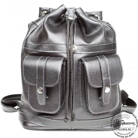 """Кожаный рюкзак """"Классика"""" (чёрный) - 4"""