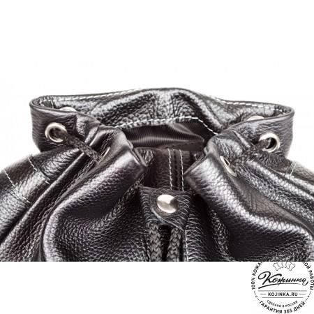 """Кожаный рюкзак """"Классика"""" (чёрный) - 3"""