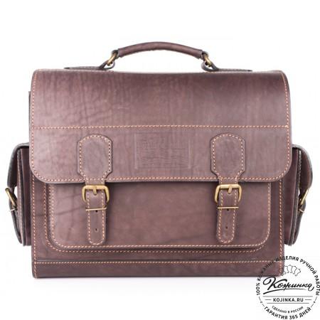 """Кожаный портфель """"Вояджер"""" (коричневый) - 3"""