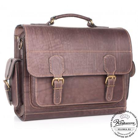 """Кожаный портфель """"Вояджер"""" (коричневый) - 5"""