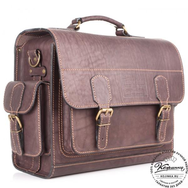 """Кожаный портфель """"Вояджер"""" (коричневый). фото 1"""